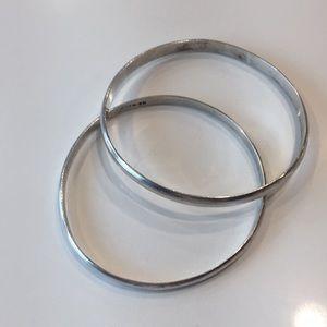 2 Sterling Silver Flat Bangle Bracelets (Stamped)